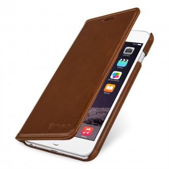 Etui iPhone 6 / 6S portefeuille cognac en cuir véritable sans clip de fermeture - Stilgut