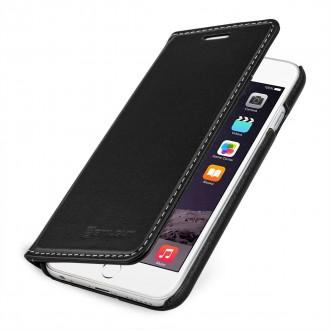 Etui iPhone 6 / 6S portefeuille noir nappa en cuir véritable sans clip de fermeture - Stilgut