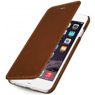 Etui iPhone 6 book type cognac en cuir véritable sans clip de fermeture - Stilgut