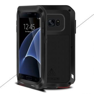 Coque Galaxy S7 Edge Etanche Antichocs Aluminium Noire - LOVE MEI