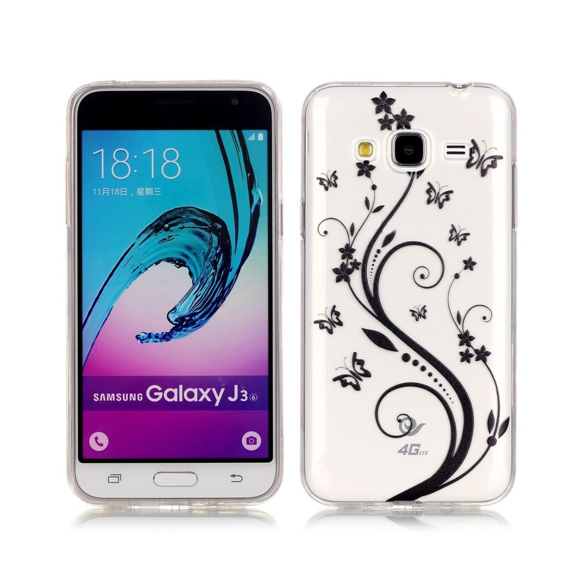 Coque Galaxy J3 (2016) Transparente motif Papillons et Fleurs Noirs - Crazy Kase