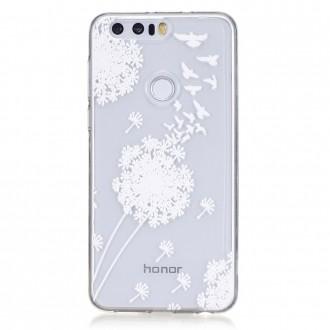 Coque Honor 8 Transparente souple motif fleurs blanches - Crazy Kase