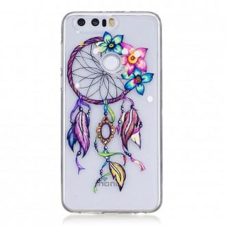 Coque Honor 8 Transparente souple motif Attrape Rêves et Fleurs Colorés - Crazy Kase