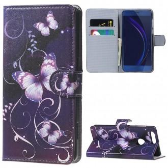 Etui Honor 8 motif Papillons Violets - Crazy Kase