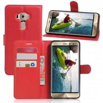Etui ZenFone 3 ZE520KL Porte-cartes Rouge - Crazy Kase