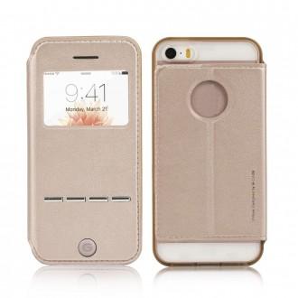 Etui iPhone 5SE / 5S / 5 doré avec fenêtre - G-Case
