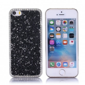 Coque iPhone SE / 5S / 5 strass Noirs et Blancs - Crazy Kase