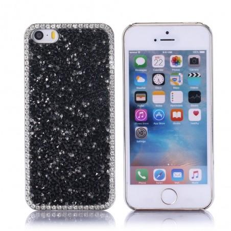 Coque pour iPhone SE (2016) / 5S / 5 strass Noirs et Blancs