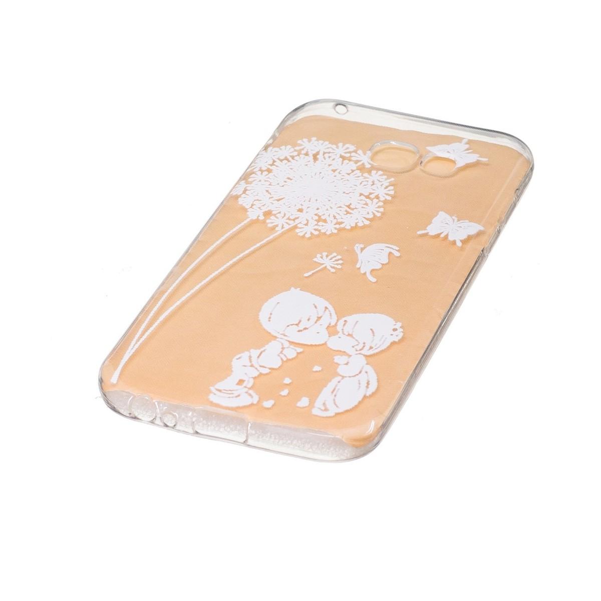 Coque Galaxy A5 (2017) Transparente souple motif Fleurs et Papillons Blancs - Crazy Kase