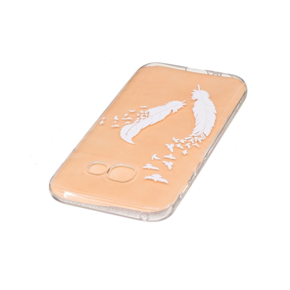 Coque Galaxy A3 (2017) Transparente souple motif Plumes et Oiseaux Blancs - Crazy Kase