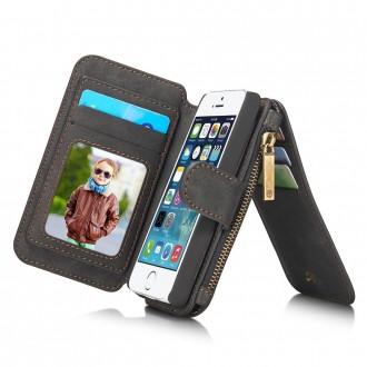 Etui iPhone SE / 5S / 5 Portefeuille multifonctions Noir - CaseMe