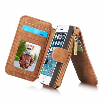 Etui iPhone SE / 5S / 5 Portefeuille multifonctions Marron - CaseMe