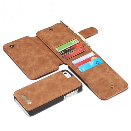 Etui iPhone SE / 5S / 5 Portefeuille multifonction Marron - CaseMe