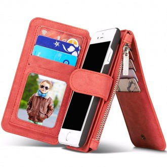Etui Iphone 7 Portefeuille multifonctions Rouge - CaseMe