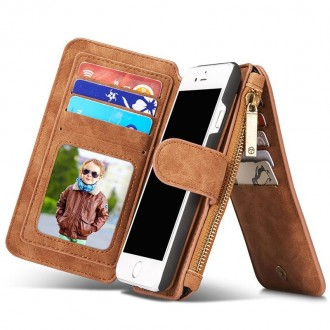 Etui iPhone 8 / iPhone 7 Portefeuille multifonctions Marron - CaseMe