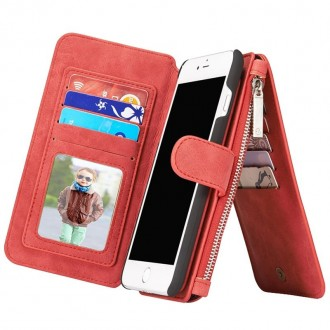 Etui Iphone 7 Plus Portefeuille multifonctions Rouge - CaseMe