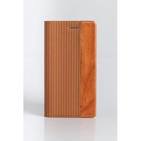 Etui Smartphone Universel 5 pouces porte-carte bis matière bois et PU marron clair- Taille XL - YAL