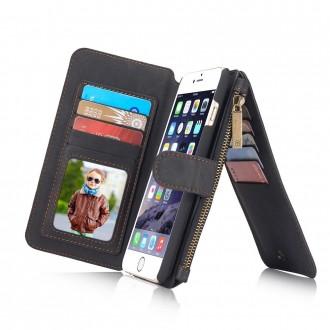 Etui iPhone 6 / 6S Portefeuille multifonctions Noir - CaseMe
