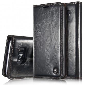 Etui Samsung Galaxy S6 Edge Portefeuille Noir- CaseMe