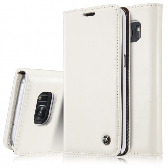 Etui Samsung Galaxy S6 Edge Portefeuille Blanc- CaseMe