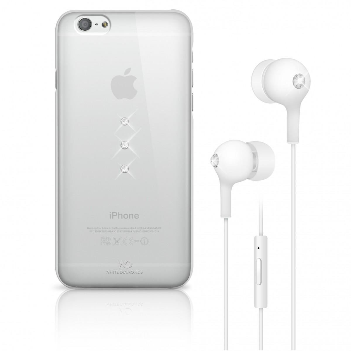 Coque Iphone 6 transparente avec crystal blanc + écouteur crystal blanc -White Diamonds