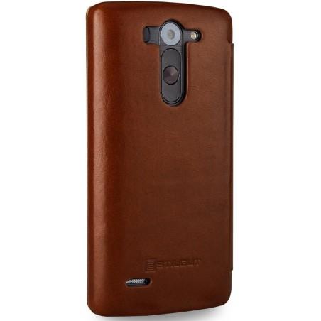 Etui LG G3s Book Type sans clip en cuir véritable cognac  - Stilgut