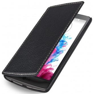 Etui LG G3s Book Type sans clip en cuir véritable noir nappa - Stilgut