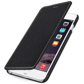 Etui iPhone 6 Plus Book Type sans clip en cuir véritable noir- Stilgut