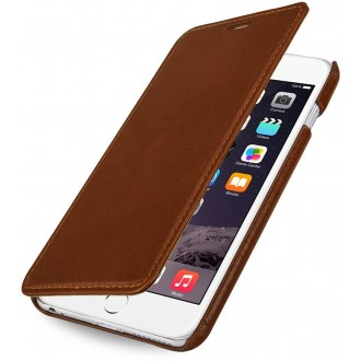 Etui iPhone 6 Plus Book Type sans clip en cuir véritable cognac- Stilgut