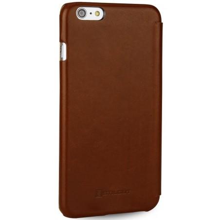 Etui iPhone 6 Plus Book Type sans clip en cuir véritable cognac- Stilgut