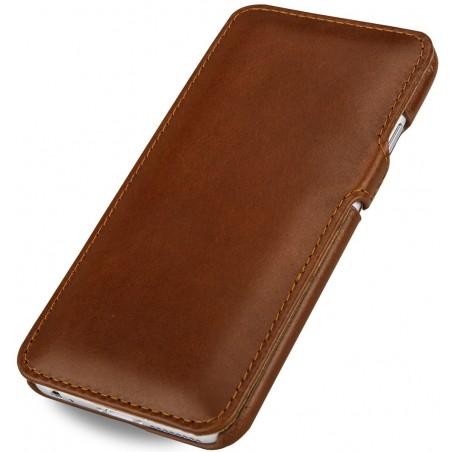 Etui iPhone 6 Plus Book Type en cuir véritable cognac- Stilgut