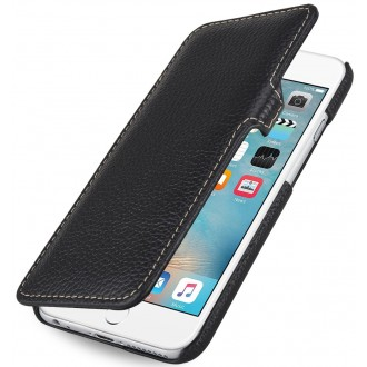 Etui iPhone 6 Plus Book Type en cuir véritable grainé noir - Stilgut