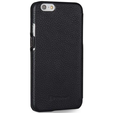 Etui iPhone 6 Plus Book Type en cuir véritable grainé noir - Stilgut