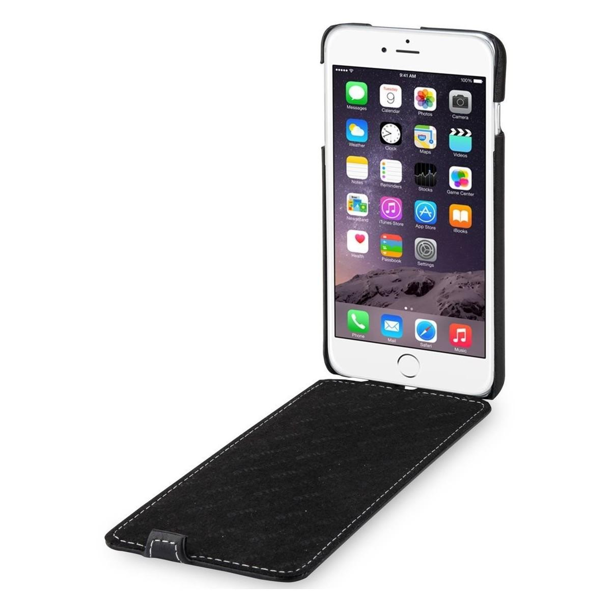 Etui iPhone 6 Plus/ 6s Plus ultraslim en cuir véritable noir nappa - Stilgut