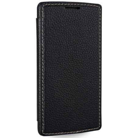 Etui LG G3s Book Type sans clip en cuir véritable noir - Stilgut
