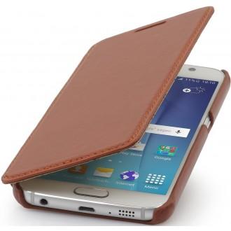 Etui Samsung Galaxy S6 Book Type UltraSlim en cuir véritable cognac - Stilgut