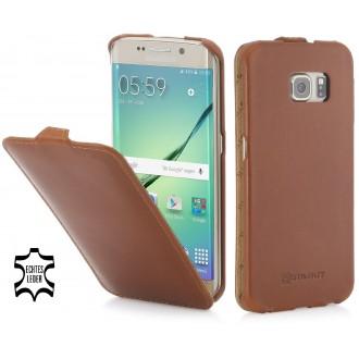Etui Samsung Galaxy S6 Edge UltraSlim cognac en cuir véritable - Stilgut