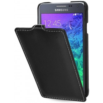 Etui Samsung Galaxy Alpha UltraSlim noir nappa en cuir véritable - Stilgut