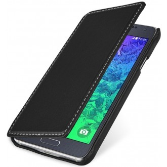 Etui Samsung Galaxy Alpha Book Type noir en cuir véritable - Stilgut