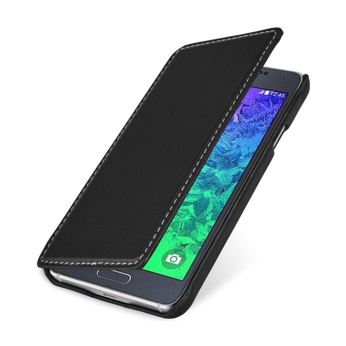 Etui Samsung Galaxy Alpha Book Type noir en cuir véritable - Stilgut