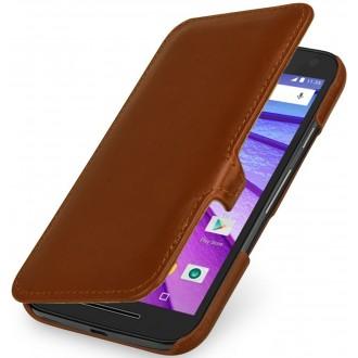 Etui Motorola Moto G (3èm Gén.) Book Type UltraSlim en cuir véritable cognac - Stilgut