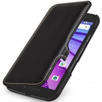 Etui Motorola Moto G (3èm Gén.) Book Type UltraSlim en cuir véritable noir - Stilgut