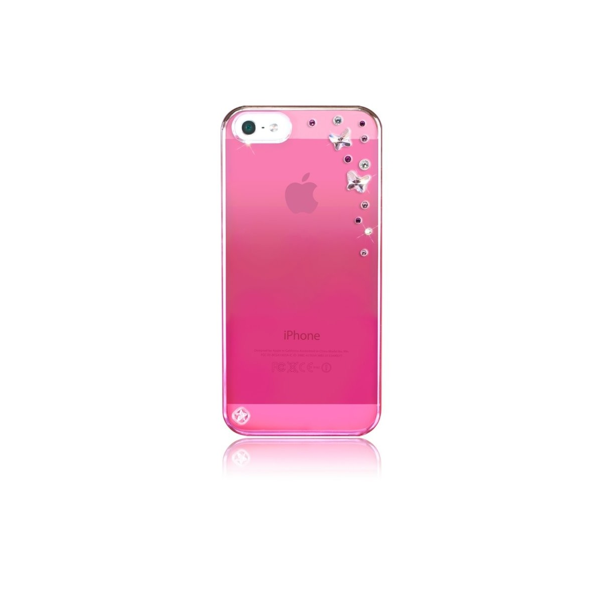Coque iPhone SE / 5S / 5 rose Butterflies strass mixtes roses Swarovski - Bling My Thing