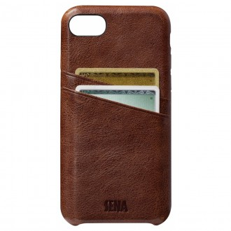Coque iPhone 7 Plus en cuir véritable Porte cartes marron - Sena Cases