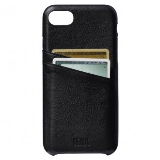 Coque iPhone 7 en cuir véritable Porte cartes noir - Sena Cases