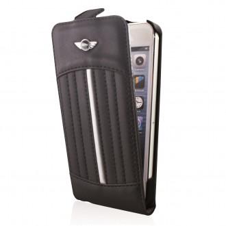 Etui iPhone 5/5s/SE sport seats noir bande argentée - Mini