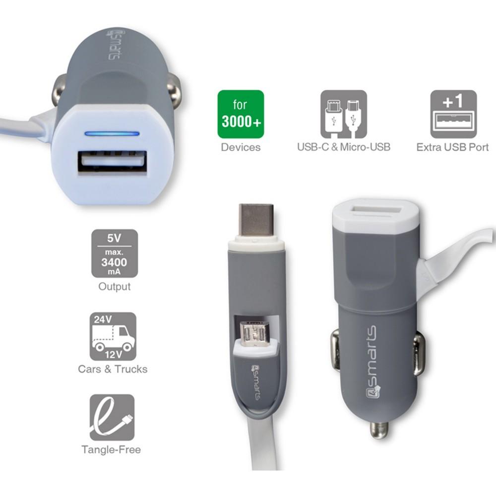 Chargeur allume-cigare 2 en 1 USB Gris - 4smarts