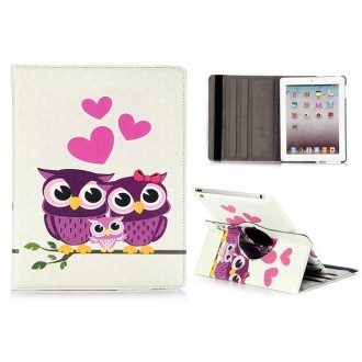 Etui iPad 2 / 3 / 4 motif Couple de Chouette - Crazy Kase