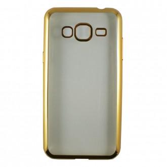 Coque Galaxy J3 (2016) Transparente souple contour doré + Verre trempé - Crazy Kase