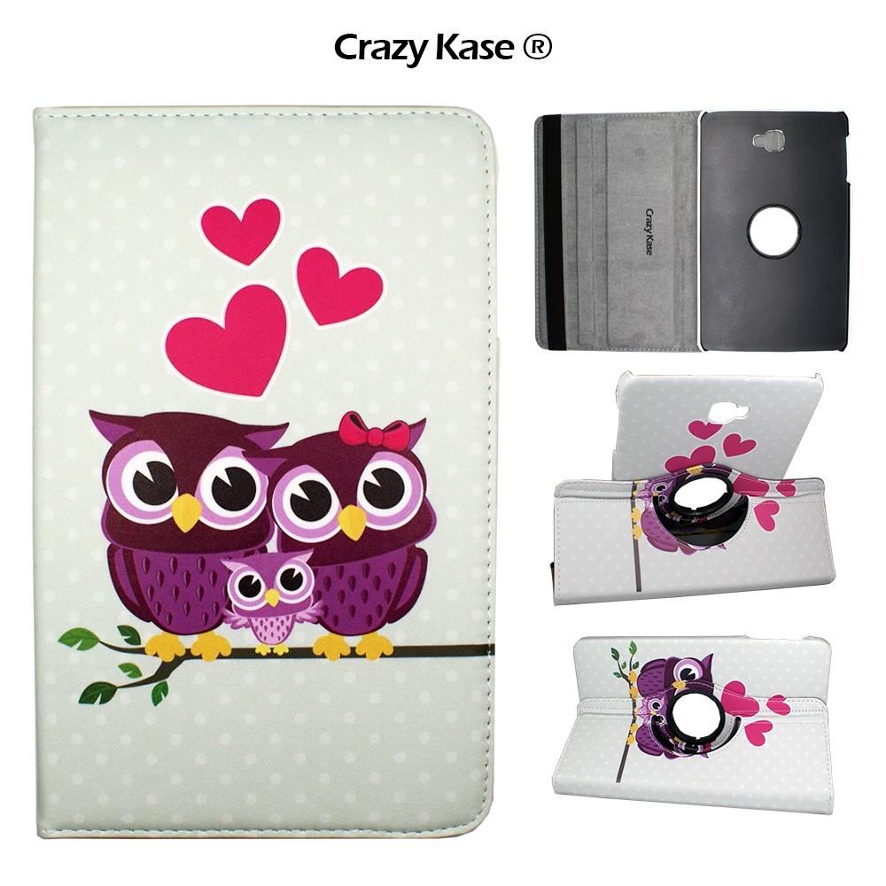 Etui Samsung Galaxy Tab A 10.1 (2016) Rotatif 360° Motif Famille de chouettes - Crazy kase